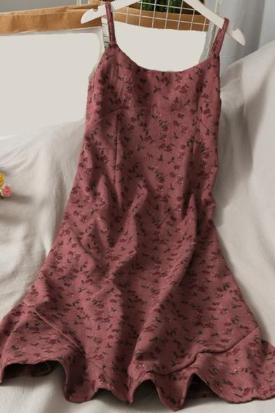 Trendy A-Line Dress Ditsy Floral Pattern Spaghetti Strap Scoop Neck Sleeveless Midi A-Line Dress