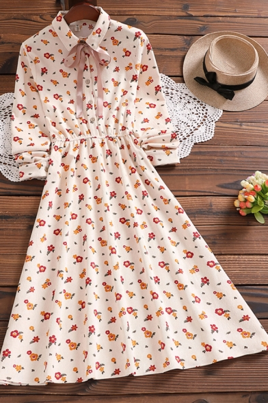 Apricot Dress Ditsy Floral Print Long Sleeve Turn Down Collar Bow Tied Button-up Mid A-line Dress for Women