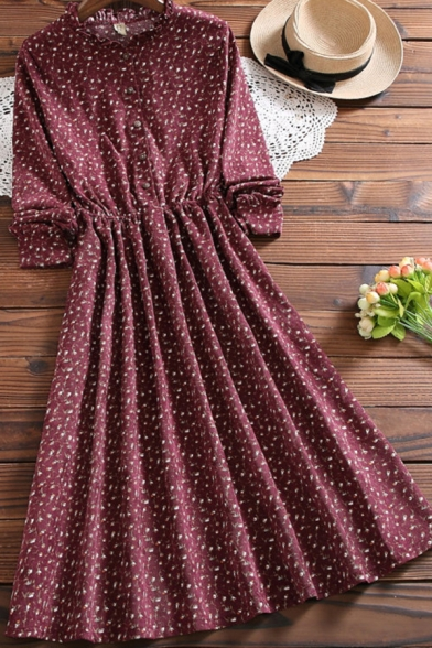 Casual Womens Dress Ditsy Floral Print Long Sleeve Crew Neck Button Up Midi A-line Pleated Dress