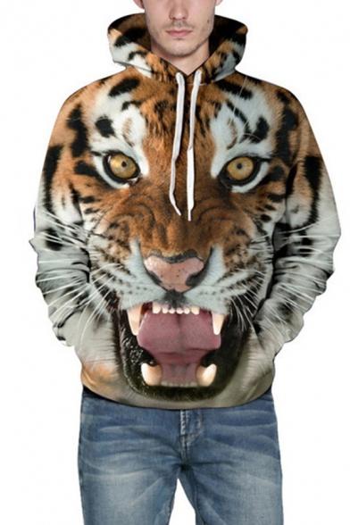 Leisure Men's Hoodie Tiger 3D Pattern Front Pocket Long Sleeve Drawstring Hooded Sweatshirt