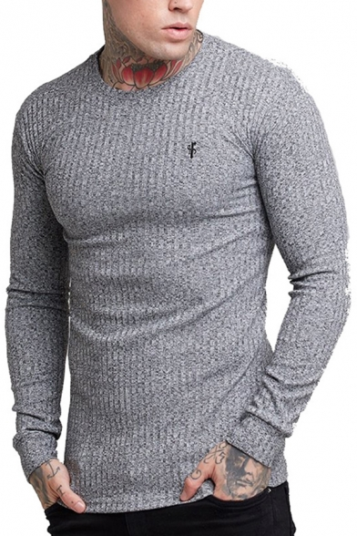 Popular Guys T Shirt Knit Logo Print Long Sleeve Crew Neck Fitted Tee Top