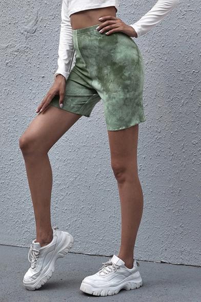 Casual Women's Shorts Tie Dye Print High Elastic Waist Lettuce Trim Skinny Shorts