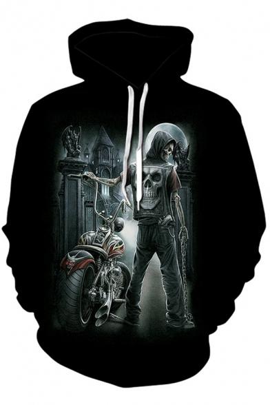 Creative Men's Hoodie Tiger Galaxy Fire Flame 3D Pattern Long Sleeve Drawstring Hooded Sweatshirt