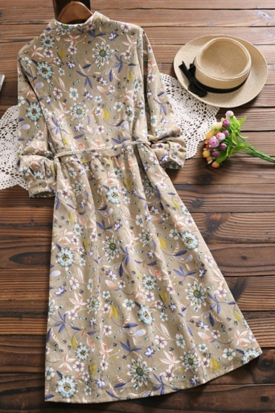 Fashion Womens Dress Ditsy Floral Print Long Sleeve Point Collar Button Up Bow Tied Waist Mid A-line Shirt Dress in Camel