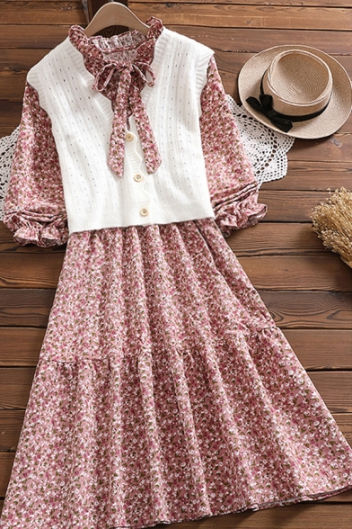 Girls Pretty Pink Dress Ditsy Floral Long Sleeve Bow-tied Neck Ruffled Midi A-line Dress with Vest