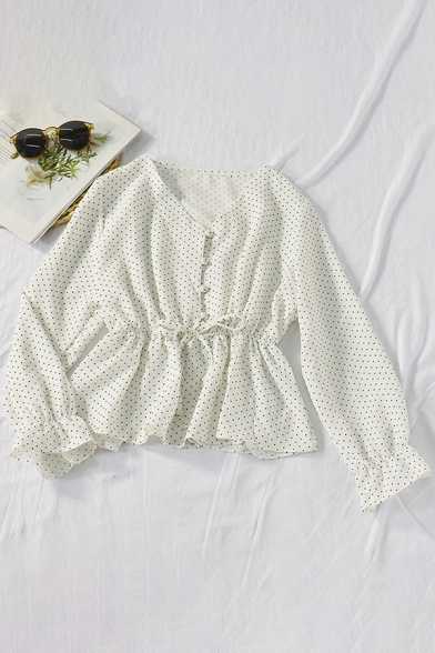 Leisure Women's Shirt Blouse Polka Dot Print Button Fly Drawstring Waist Long Sleeve Regular Fitted Pullover Shirt