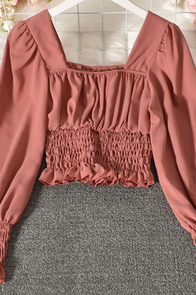 Fancy Women's Shirt Blouse Pleated Detail Solid Color Stringy Selvedge Embellished Long Sleeve Square Neck Shirt Blouse