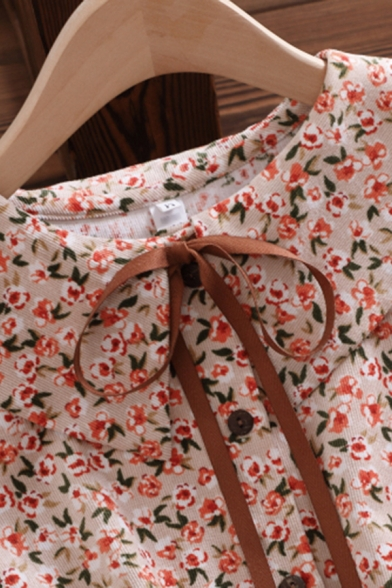 Gorgeous Girls Dress Ditsy Floral Long Sleeve Peter Pan Collar Button Up Bow Tied Mid A-line Dress