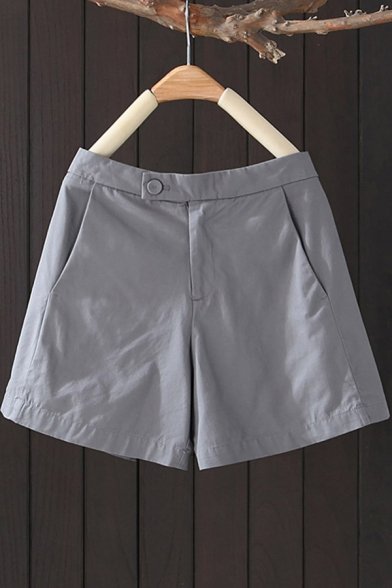 Simple Girls Shorts Solid Color Mid Rise Relaxed Fit Shorts