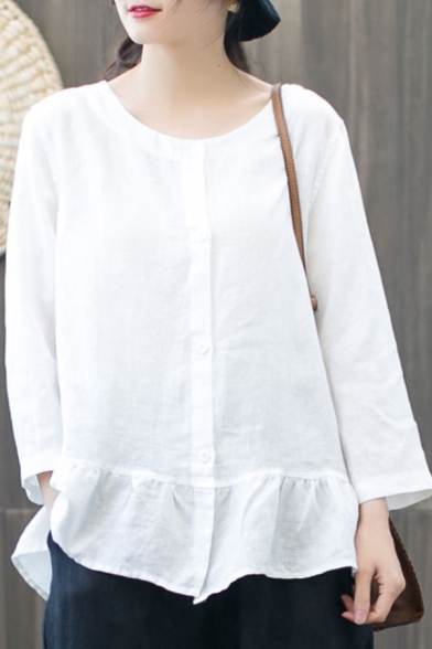 Simple Womens Shirt Solid Color Long Sleeve Crew Neck Button Up Ruffled Relaxed Shirt Top