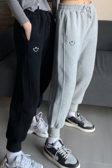 Fancy Women's Pants Smile Face Embroidered Drawstring Waist Fleece Lined Banded Cuffs Jogger Pants