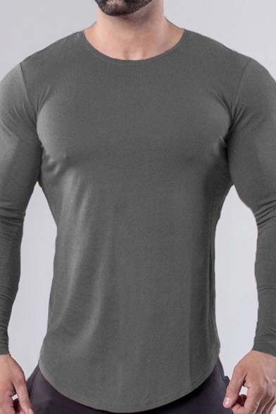 Leisure Tee Top Solid Color Long Sleeve Crew Neck Curved Hem Slim Fit T Shirt for Men