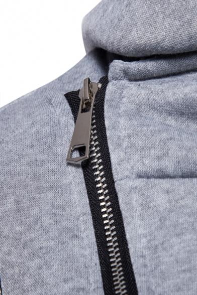 Mens Simple PU Panelled Long Sleeve Diagonal Zipper Longline Fitted Hoodie Coat