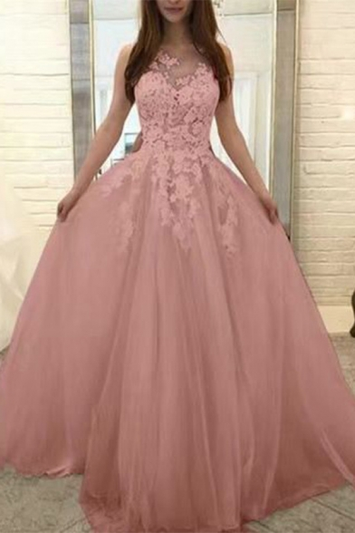 Pink Round Neck Sleeveless Lace Patch Floor Length A-Line Evening Dress
