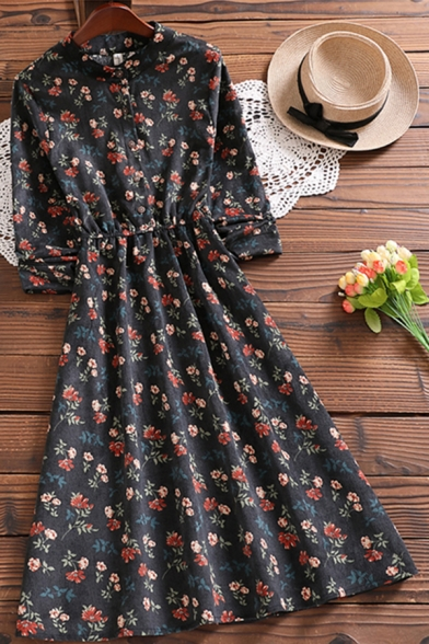 Pretty Womens Dress Ditsy Floral Printed Half Sleeve Crew Neck Button Up Mid A-line Pleated Dress in Black
