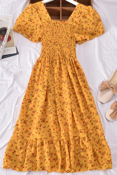 Stylish Women's A-Line Dress Floral Pattern Stringy Selvedge Embellished Short Butterfly Sleeve Square Neck Midi A-Line Dress