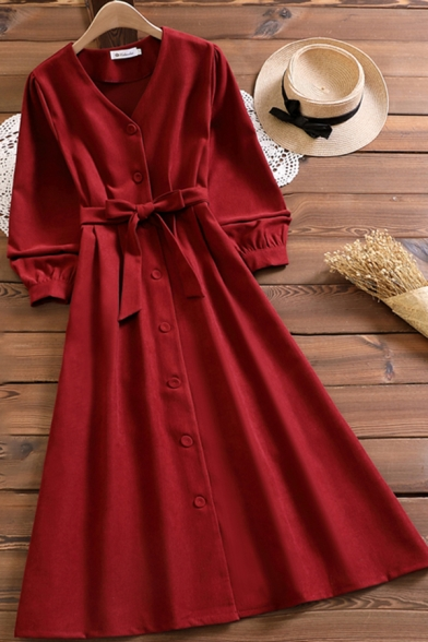 Pretty Dress Long Sleeve V-neck Button Up Bow Tied Waist Mid A-line Dress for Women