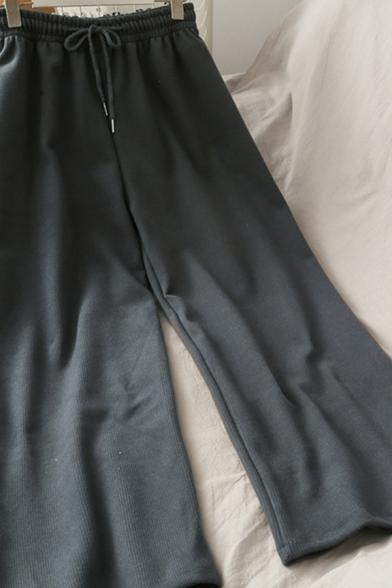 Trendy Women's Pants Solid Color Corduroy Elastic Drawstring Waist Long Straight Pants