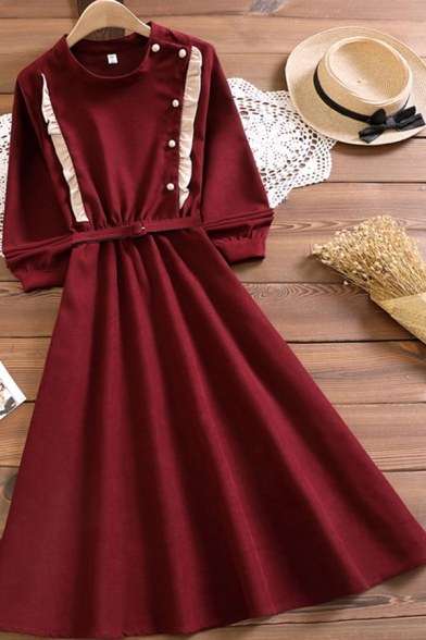 Trendy Womens Dress Long Sleeve Crew Neck Pearl Button Stringy Selvedge Mid A-line Dress in Red