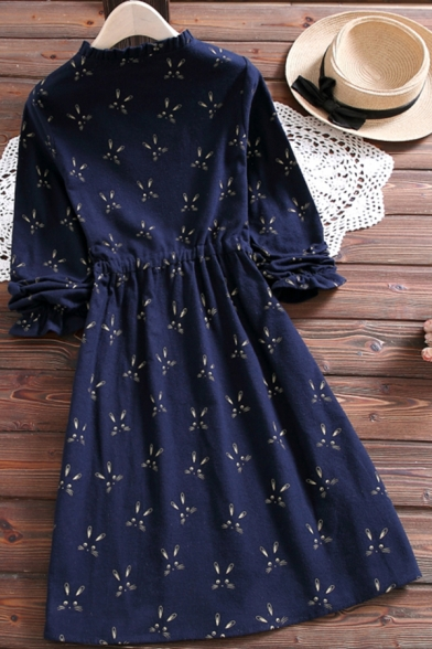 Casual Ladies Dress Ditsy Floral Printed Long Sleeve Crew Neck Button Up Tied Waist Mid A-line Dress