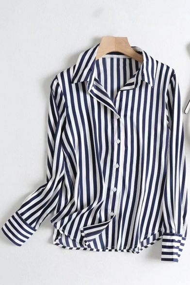 Casual Women's Shirt Blouse Stripe Pattern Button Fly Spread Collar Long Sleeve Regular Fitted Shirt Blouse