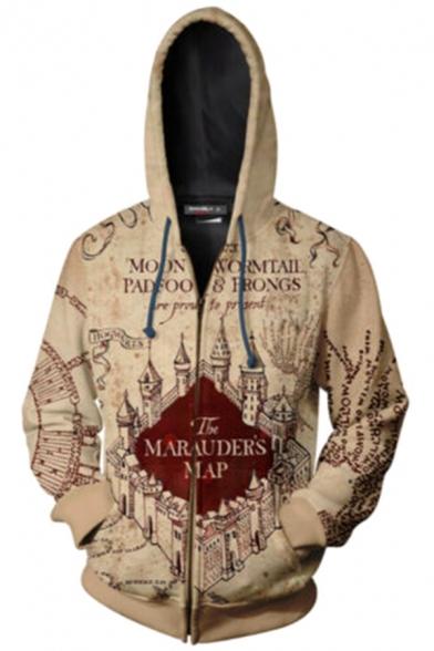 The Marauder's Map Cool 3D Comic Printed Khaki Long Sleeve Zip Up Drawstring Hoodie