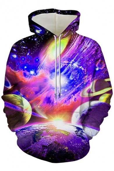 Elegant Men's Hoodie Space Galaxy Print Front Pocket Long Sleeve Drawstring Hooded Sweatshirt