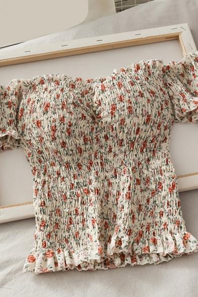 Unique Women's Shirt Blouse Floral Pattern off the Shoulder Short Sleeves Stringy Selvedge Embellished Slim Fitted Shirt Blouse