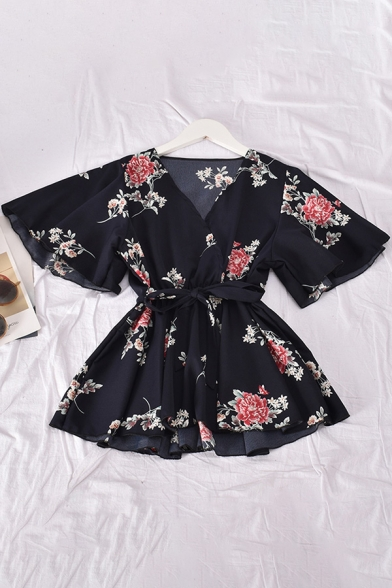 Unique Women's Shirt Blouse Floral Pattern Wrap Front Elastic Waist Short Butterfly Sleeve Waist Tie Pleated Regular Fitted Shirt