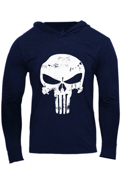 Cool Mens Hoodie Skull Printed Long Sleeve Fitted Hoodie
