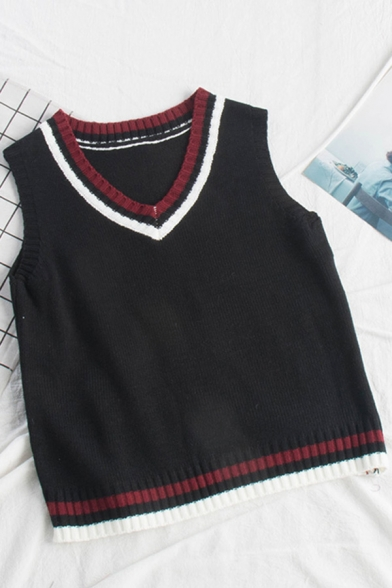 Cozy Women's Knit Vest Contrast Stripe Pattern Ribbed Trim V Neck Sleeveless Regular Fitted Pullover Knit Vest