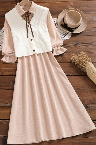 Elegant Woemns Dress Long Sleeve Point Collar Button Up Mid A-line Apricot Dress with Vest