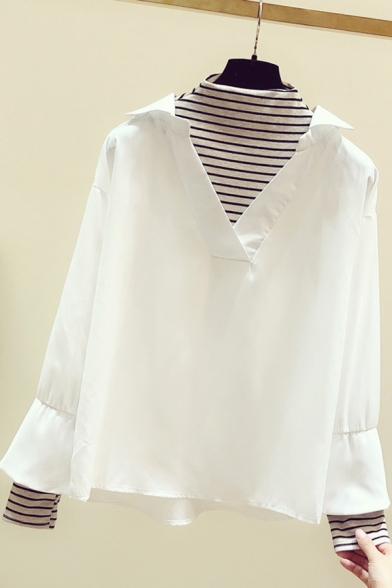 Leisure Women's Shirt Patchwork Stripe Pattern Faux Twinset Long Flare Cuff Sleeves Mock Neck Regular Fitted Shirt