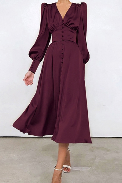 Unique Womens Dress Solid Color Puff Sleeve V-neck Button Up Mid A-line Dress