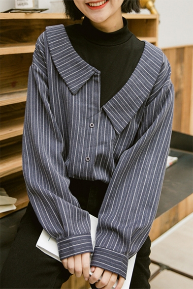 Cool Street Girls Long Sleeve High Neck Stripe Patterned Button Down Loose Fit Fake Two-Piece Shirt in Black