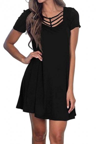 Crisscross Tie Front Short Sleeve Black Mini Dress