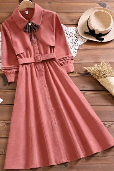 Elegant Ladies Dress Long Sleeve Turn Down Collar Bow-tied Belted Mid A-line Shirt Dress in Pink