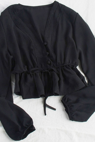 Leisure Women's Shirt Blouse Solid Color Lace Trim Drawstring Waist Button Fly Long Sleeves Regular Fitted Shirt Blouse