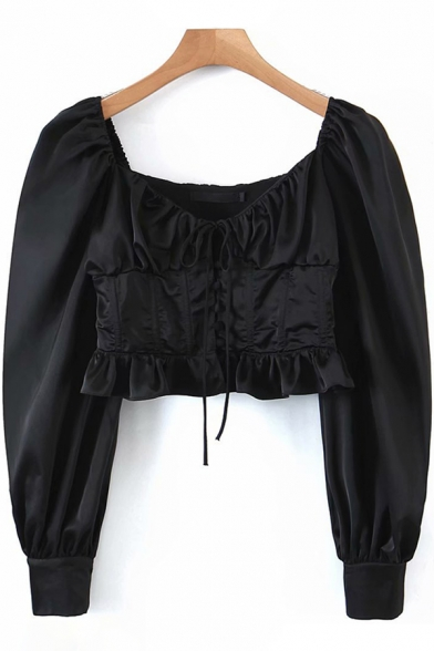 Stylish Women's Shirt Blouse Solid Color Drawstring Front Ruffle Hem Ruched Detail Button Fly Long Puff Sleeves Blouse