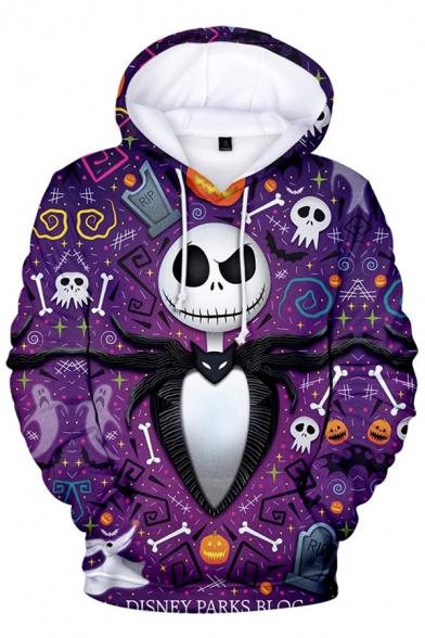 The Nightmare Before Christmas Jack Skellington Printed Casual Purple Hoodie