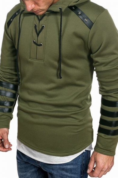 Unique Men's Hoodie Contrast PU Leather Panel Lace up Front Long Sleeves Hooded Sweatshirt