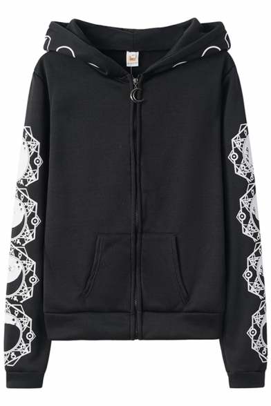 Women Steampunk Fashion Moon Star Pattern Hooded Black Gothic Zip Up Fitted Hoodie