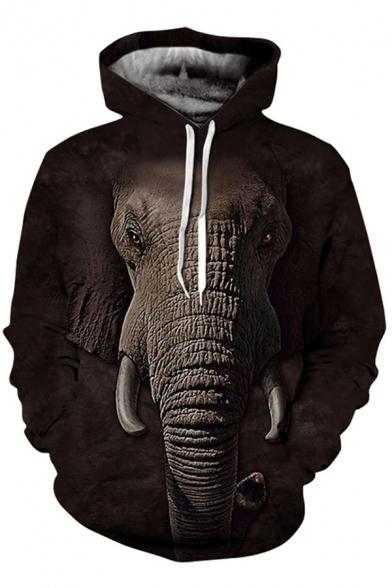 Fancy Men's Hoodie Animal Cow Elephant Sheep Eagle Digital 3D Pattern Front Pocket Long Sleeve Drawstring Hooded Sweatshirt