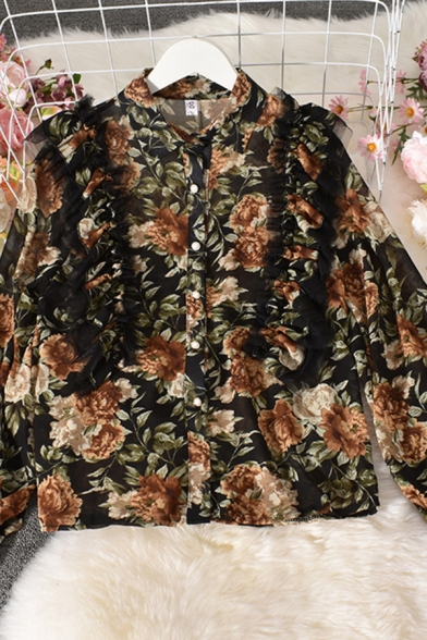 Fancy Women's Blouse Floral Pattern Ruffle Embellished Button Fly Long Sleeves Spread Collar Regular Fitted Shirt Blouse