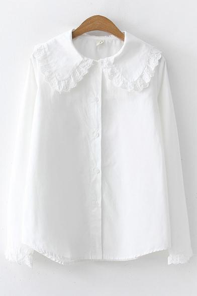 Girls' Lovely Ruffle Trim Peter-Pan Collar Long Sleeve Button Front White Shirt