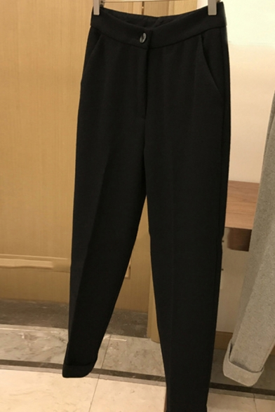 Leisure Women's Pants Heathered Zip Fly High Waist Rolled up Cuffs Ankle Length Tapered Pants