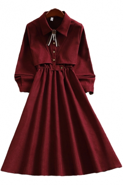 Fancy Ladies Dress Solid Color Long Sleeve Point Collar Button Up Mid A-line Pleated Dress