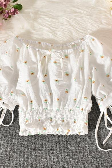 Fancy Women's Blouse Floral Pattern Stringy Selvedge Embellished Drawstring Front off the Shoulder Short Sleeve Regular Fitted Shirt Blouse