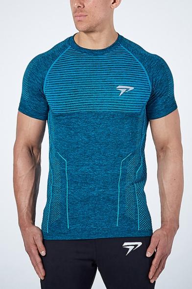 Fitness T Shirt Logo Print Short Sleeve Crew Neck Fitted T Shirt for Men