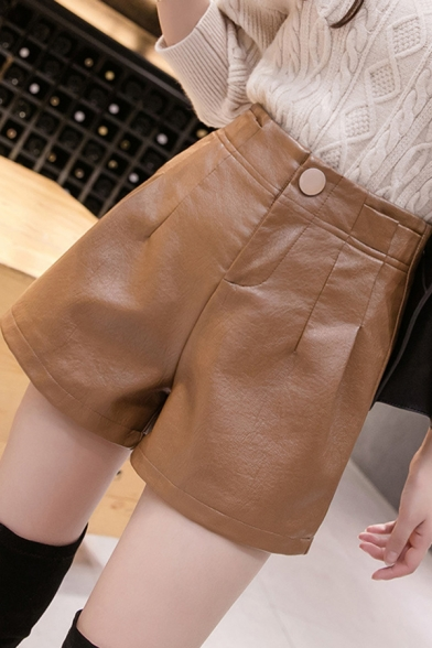 Street Ladies Shorts Leather High Rise Wide-leg Solid Color Shorts